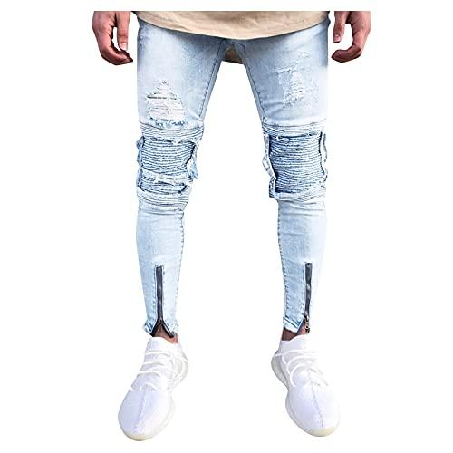 LAOLUO Jean Troué Homme Mode Skinny Slim Fit Pantalon Denim Styles Déchiré Sport Trousers avec Fermeture Éclair Casual Mode Survetement Pants Jogging Trekking Outdoor Travail Cargo Vintage Sweatpants