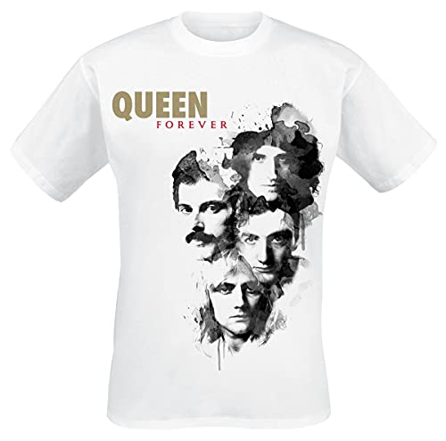 Queen Forever Hombre Camiseta Blanco S, 100% algodón, Regular