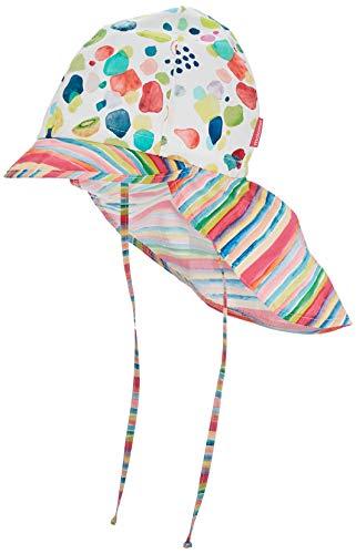 maximo Mädchen Nackenschutz Mütze, Mehrfarbig (Ecru-Bunte Früchte/Multicolor Streifen 4645), (Herstellergröße: 51)