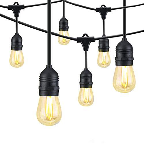 Bomcosy ST45 LEDストリングライト E26口金 15個ソケット*17個LED電球 15M クリスマス 結婚式 パーティー用屋外照明電飾 品質2年保証