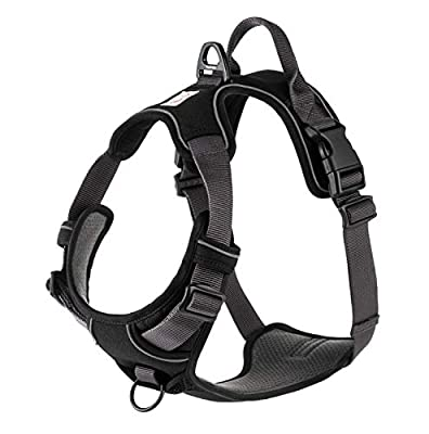 My Busy Dog Dog Harness by No Pull, Easy On/Off, Front and Back Leash Attachments, Handle, Metal Strap Adjuster to Keep Fit | Perfect for Small or Large Dogs | Size Chart in Pictures