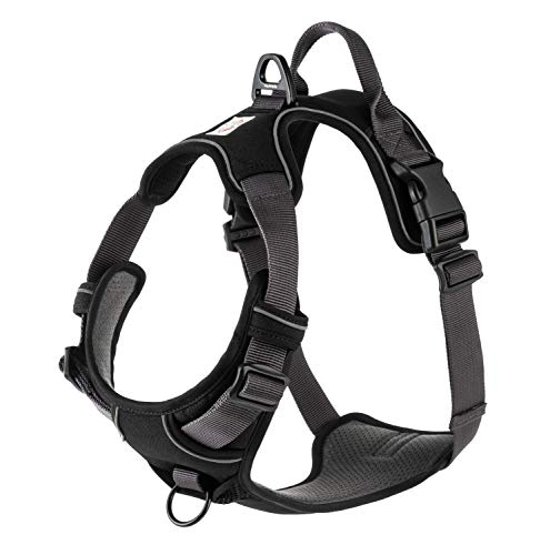 My Busy Dog Harness Vest | No Pull, Easy On/Off, Front/Back Metal Leash Attachments, Handle, Reflective, Secure Fit | Perfect for Small Medium Large Dogs | Size Chart in Pictures (XS, Black)