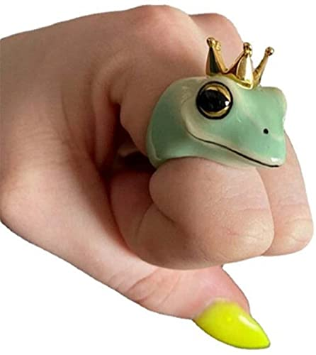 Enamel Frog Ring-Original Frog Gold Plating Finger Ring,Fashionable Cute Frog Shape Couples Jewelries for Fashion Party Jewelry Gifts (10)