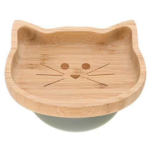 LÄSSIG Kinder Holzteller Snackteller Kinderteller, aus Bambus Saugnapf aus Silikon rutschfest/Platter Little Chums Cat, türkis