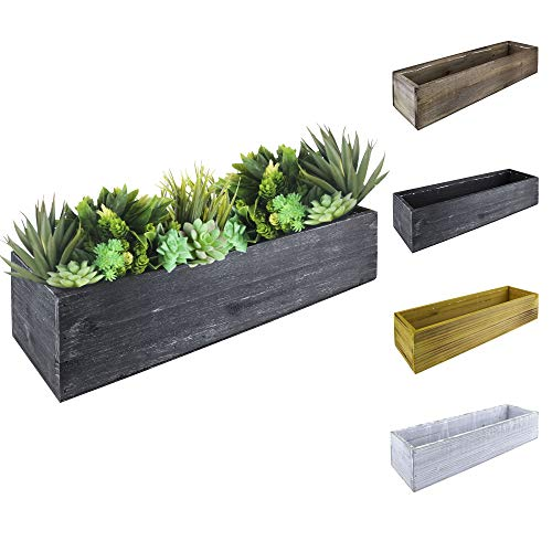 """CYS EXCEL Wood Planter (17""""x5"""", H:4"""") Rectangle Box with Leak-Proof Plastic Liner 