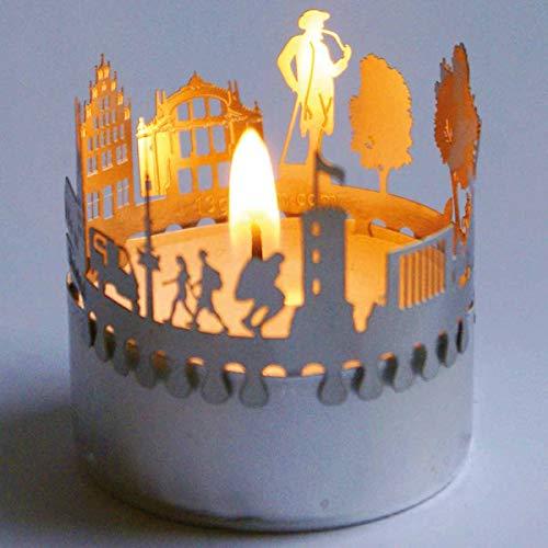 13gramm Bielefeld-Skyline Windlicht Schattenspiel Souvenir, 3D Edelstahl Aufsatz für Kerze inkl. Karte