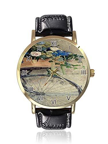 Antike Fahrrad Blumen Korb View Damen Armbanduhr Sport Uhr Damen Freizeit Armbanduhr