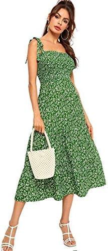 SheIn Women s Sleeveless Straps Shirred Polka Dot Ruffle Flare A Line Midi Dress Large Green product image
