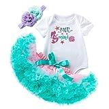 Ropa Bebe Niña Trajes de Cumpleaños 1 año/2 año Recién Nacida Conjunto 3 Piezas Manga Corta Algodón Mameluco+ Tutú+Diadema