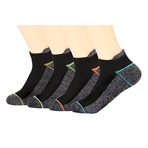Kupfer Antibakterielle Athletic No Show / Low Cut Socken für Männer und Frauen, Mehrfarbig-4 Pairs, Shoe M:34-44 EUR