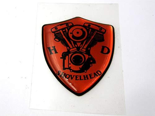 3D Doming Aufkleber Wappen Shovelhead (Orange)