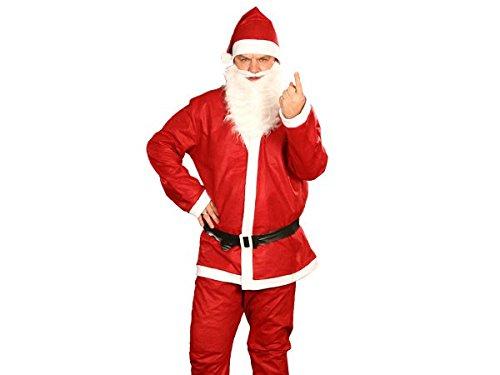 Alsino  Costume Travestimento da Babbo Natale (wk-74) 5 Pezzi: Cappello, Barba, Giacca, Cintura, Pantalone Taglia Unica Media Grande per Uomini