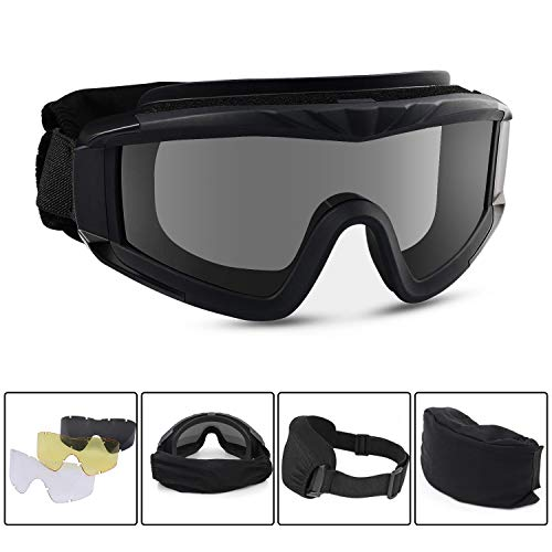 Freehawk Military Tactical Goggles Airsoft Safety Goggles Motorcycle Goggles with 3 Interchangeable Multi Lens for Shooting/Paintbal/Hiking/Skiing/Riding (Black)