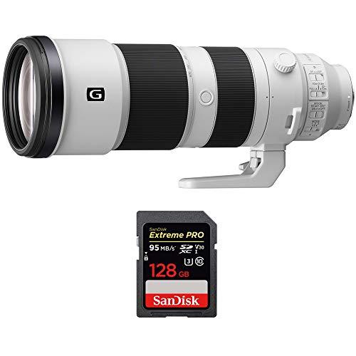 Sony FE 200-600mm F5.6-6.3 G OSS Super Telephoto Zoom Lens Full-Frame (SEL200600G) with Sandisk Extreme PRO SDXC 128GB UHS-1 Memory Card