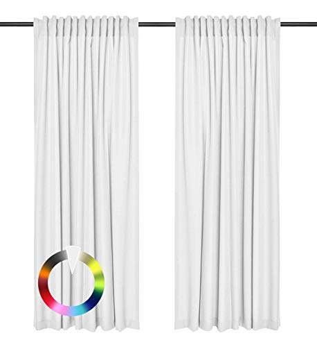 Rollmayer Vorhänge mit Tunnelband Kollektion Vivid (Weiß 1, 135x215 cm - BxH) Blickdicht Uni einfarbig Gardinen Schal für Schlafzimmer Kinderzimmer Wohnzimmer