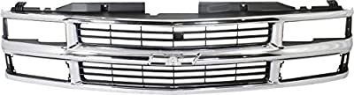 Grille Assembly Compatible with 1994-1999 Chevrolet K1500 Cross Bar Chrome Shell/Painted Black Insert with Composite Headlights