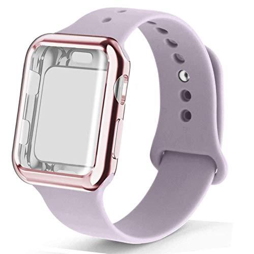 Estuche + correa para apple watch band 44mm 40mm iwatch bands 4mm 38mm correa de silicona correa correa de reloj pulsera para la serie 6 SE 5 4 3