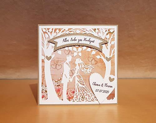 Hochzeitskarte, Glückwunschkarte, Karte zur Hochzeit, Namen/Datum personalisierbar, personalisiert, Handarbeit, handgemacht