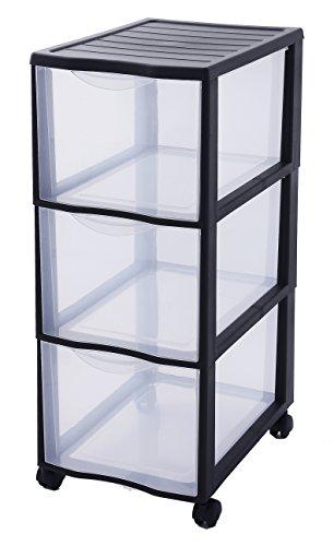 SUNDIS 4476014 Tour de Rangement 3 Format A4 4 Roues orientables 360 DEG capacité 13, 5L par tiroir, Plastique, Noir