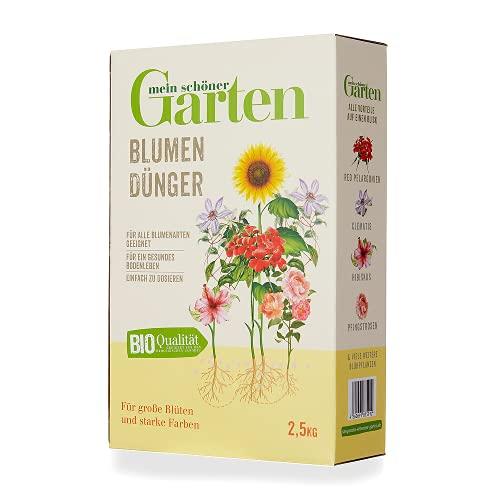 Mein schöner Garten Blumendünger 2,5kg – Zulässig für den Bio-Anbau – Dünger für alle Blumen – Kräftigender Dünger – Organisch – 3 Monate Langzeitwirkung - Unbedenklich für Natur und Tiere