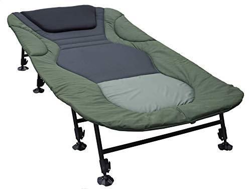 Nordmann® Premium 8 Bein XXL Karpfenliege NL205 + Tragetasche - Angelliege bis 200 kg belastbar - stufenlos verstellbare Füße - Campingliege - Bedchair #93043