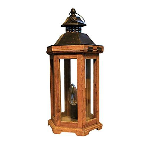 XUANLAN Lampe de table en bois antique de village américain, nordique simple LED réglable chambre table à manger lit lampes de table