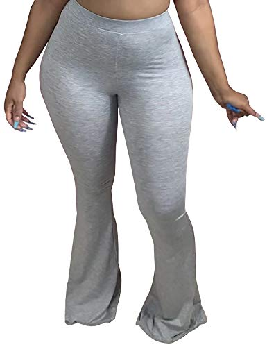 Adogirl Bootcut Yoga Pants for Women Palazzo Pants Stretch Wide Leg Pants for Work Elastic Band and Bell Bottoms High Waist Flare Leggings Grey XL
