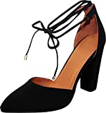 Cambridge Select Women's D'Orsay Closed Pointed Toe Ankle Tie Chunky Block Heel Pump (10 B(M) US, Black)