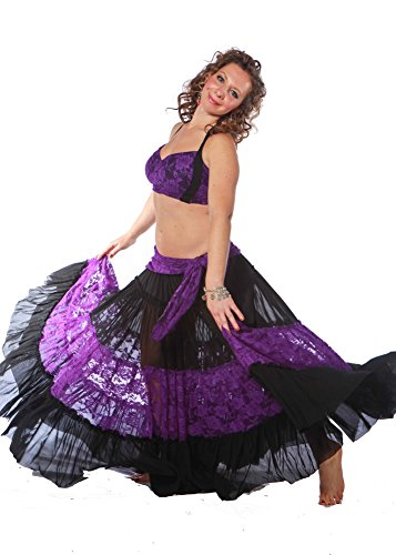 Belly Dance Lace Skirt, Top & Hip Scarf Costume Set | Color Doble – Black/Purple – Small/Medium
