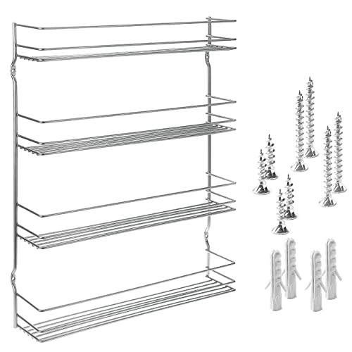 Gewürzregal mit 4 Etagen - Schafft Ordnung und Übersicht in der Küche - Gewürzregal Wand, Schrank - inkl. Befestigungsmaterial, rostfrei