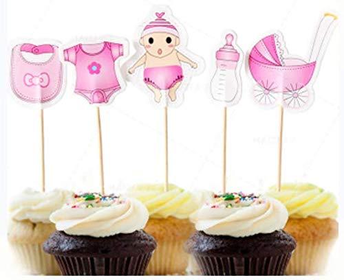 AILEXI Top 20 Decoraciónes de pastel para decorar pasteles cuppastel y helado - Baby Shower Girl