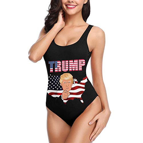Donald Trump 2020 for American President Women One-Piece Bikini Soft and Delicate Swimsuit White