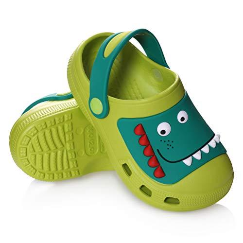 MQELONG Toddler Kids Boys Girls Water Pool Beach Sandals Children Outdoor Slip On Summer Slippers Comfort Clogs Lightweight Garden Shoes (Green Dinosaur, Numeric_6)