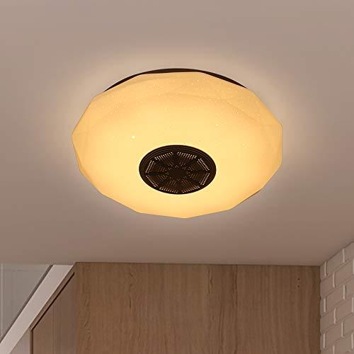 Konesky Lámpara de techo, lámpara de techo de la aplicación Music Smart con altavoz Bluetooth y lumen de control remoto, lámpara de techo empotrada con función de cambio de color y atenuación