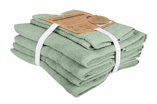 BLUE MOON Bio-Handtücher - Handtuchset aus 100% natürlicher Bio-Baumwolle - Zero Waste, nachhaltig & plastikfrei - Weich, schnelltrocknend & maschinenwaschbar - grün, 6er-Pack 2X 30x50+4X 50x90cm