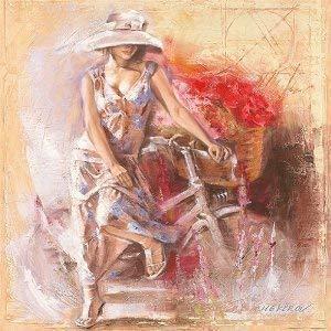 Tableau Prêt - Talantbek Chekirov: A Basket Full Of Fleurs 50 X 50 cm Fille avec Vélo et Blumen-Korb Sensuel