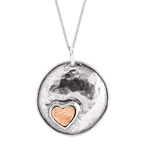 Silpada 'From the Bottom of My Heart' Heart Stamp Pendant Necklace in Sterling Silver & 14K Rose Gold Plate