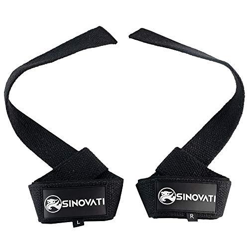 SINOVATI® Weightlifting Straps - Zughilfen für Fitness, Krafttraining & Bodybuilding, Frauen und Männer (Schwarz)