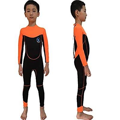 REALON Wetsuit Kids Shorties 3mm Boys Surfing Suit 2mm Children Swimwear Girls Snorkeling Diving Suits Toddler and Youth (2mm Full Orange, L)
