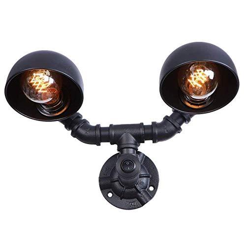 BOSSLV Lampes de Lavage Murales Lampes Murales Applique Murale Lampe Frontale Industrielle en Fer Forgé avec Abat-Jour Noir Lampe de Lavage Mural