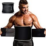 Waist Trimmer for Men, Widening Waist Trainer Ab Belt Sweat Wrap for Stomach and Back Lumbar Support Black
