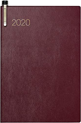 Brunnen 107233629 Zakagenda model 723 (2 pagina's = 1 week, 7,6 x 11,2 cm, zachte omslag bordeaux, kalender 2020, met balpen)