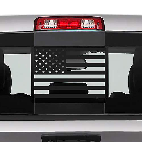 Bogar Tech Designs Rear Middle Window American Flag Vinyl Decal Compatible with and Fits Dodge Ram 2009-2019+, Matte Black