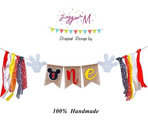Mickey Mouse – Cartel de primer cumpleaños, hecho a mano, para primer cumpleaños, decoración de fiesta…