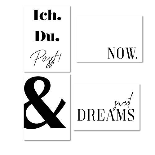 Typo Poster-Set I dv_321 I DIN A4 I 4 Print Plakate mit Sprüchen: Ich Du passt sweet dreams & Now I Statement modern I schwarz weiß