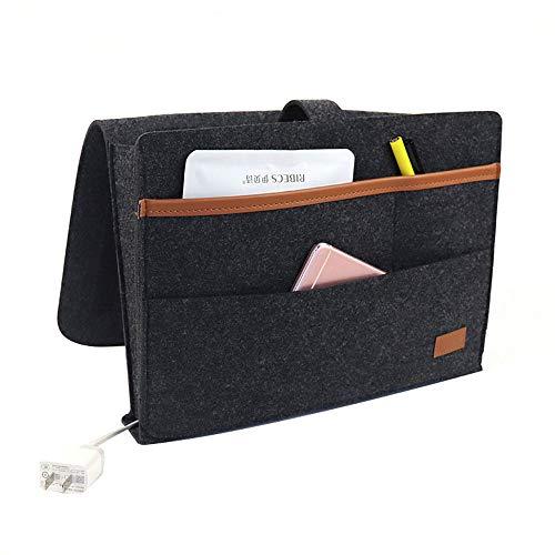 YUKFGH - Organizador de almacenamiento para mesilla de noche de fieltro con varios bolsillos, gran capacidad, antideslizante, para colgar en el sofá, 34,5 x 9 x 25 cm, resistente al desgaste y no se deforma fácilmente.