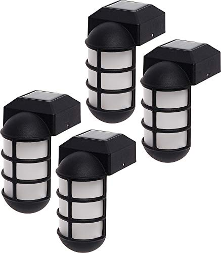 GreenLighting 4 Pack Marina Solar Post Cap Lights - Metal Side Mount Dock Light for 4x4 Wood Posts