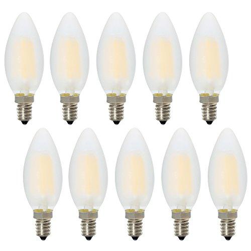 Dimmerabile Lampadina LED Candela Filamento E14 Luce Bianca Calda 2700K, quivalente a 30 W lampadina a incandescenza,10 pezzi