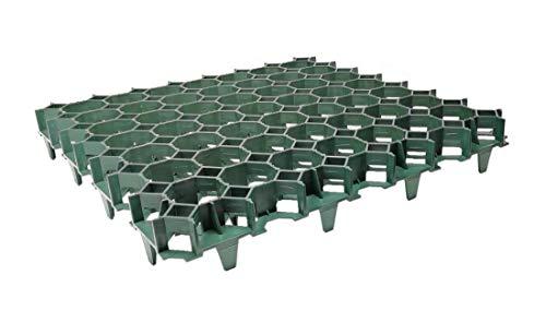 FORTENA befahrbare Rasengitter Platten - 50 x 50 x 4 cm, grün, aus hochrobustem Kunststoff, zur Parkplatzbefestigung, Bodenstabilisierung, Rasenbefestigung, belastbar mit PKW bis zu 1000t/m