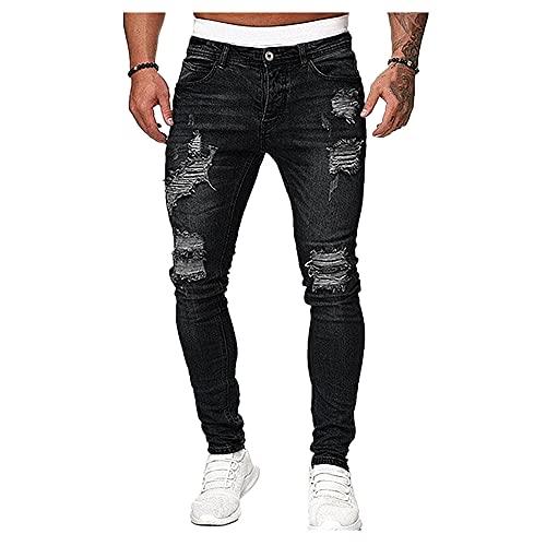 NP Flaco rasgado Hip Hop Negro Cool Stretch Slim Pantalones de mezclilla elásticos para hombre, Negro, M